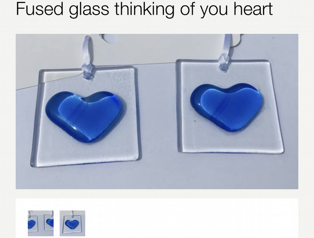 Fused glass hanging heart.