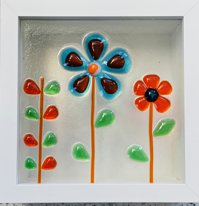 Fused glass free standing acrylic box with fused glass retro flowers design