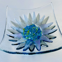 Fused glass cornflower glass dish