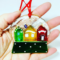 Fused glass Christmas decoration, hanging glass snow globe