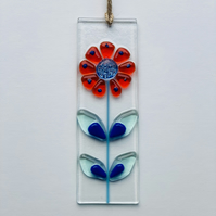 Retro style flower glass hanging suncatcher