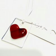 Fused glass card and heart  with personalised message