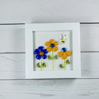 Fused glass retro flowers art in a white frame