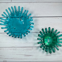 Fused glass splash dishes ,ornamental dishes or candle holder