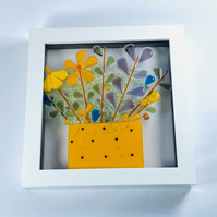 Fused glass retro flower pot picture