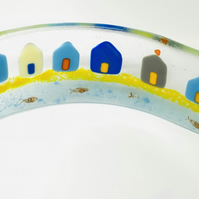 Fused glass curve stand up beach house ornament (SALE)