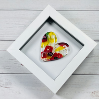 Fused glass cast heart in a white box frame