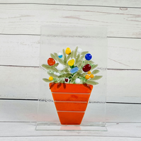 Fused glass flower pot ornament