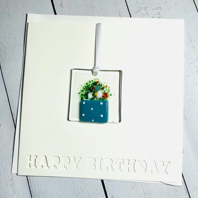 Fused glass keepsake birthday card