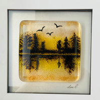 Fused glass lake landscape glass art , picture