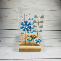 Fused glass retro panel with wood base for candle