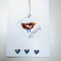 Fused glass Mother's Day keepsake card