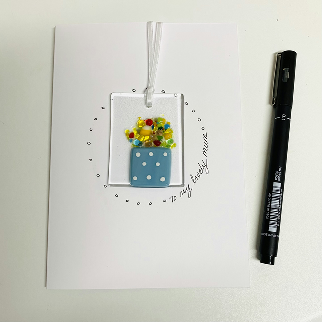 Mother's Day , fused glass hanging keepsake card