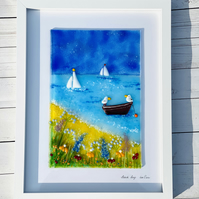 "Fused glass art,"" beach days"" ,glass picture"