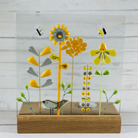 "Retro inspired ""the bird and the bees "" fused glass art panel, candle screen"
