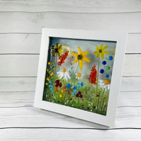 """Wild meadow"" fused glass art , picture"