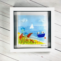"""Beach days"" fused glass art ,picture"