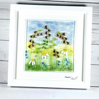 Fused glass meadow picture