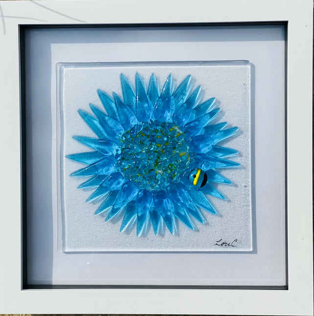 Cornflower glass art, picture