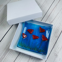 Shallow poppies trinket fused glass dish, giftboxed