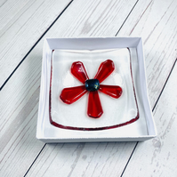Retro red flower with dichroic centre trinket dish.