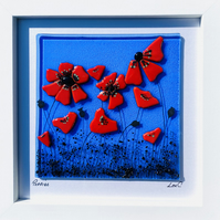 Poppies, fused glass art picture