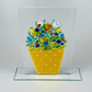 Flower pot ornament in fused glass.