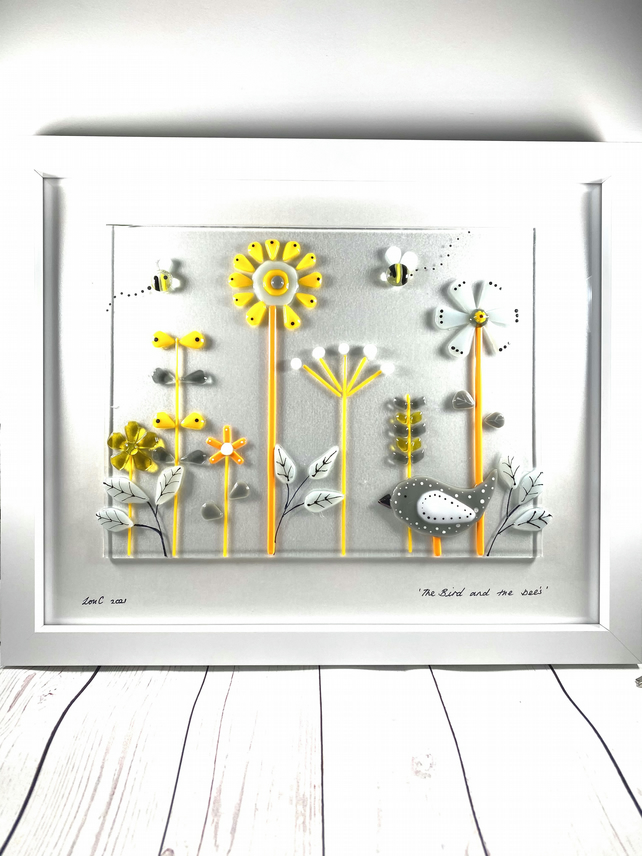 "Retro inspired ""the bird and the bees"" glass art picture."