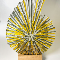 Ammonite textural fused glass sculpture