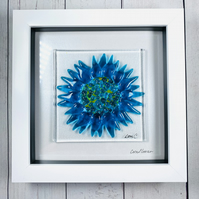 Cornflower in fused glass picture, glass art
