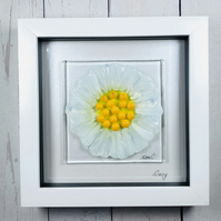 Fused glass daisy picture,glass art