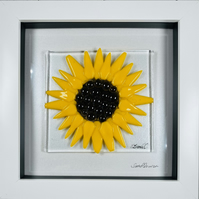 Fused glass sunflower glass art,picture