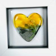 Gorgeous cast glass  heart in a box frame, glass art