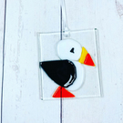 Puffin.,Fused glass hanging decoration