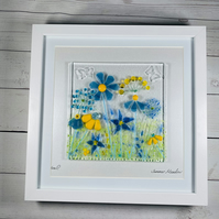 """fused glass picture, """"summer meadow"""