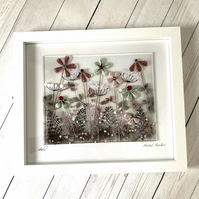 fused glass art picture, muted meadows