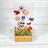 Fused glass meadows panel with candle recess