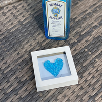 Fused glass Bombay sapphire heart