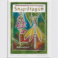 Snapdragon - original hand painted lino print 003