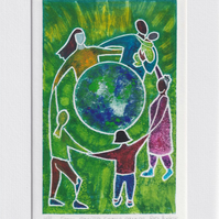 From caring comes courage - original hand painted monoprint 001