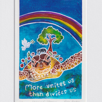 Shared stories - original hand painted lino print 001