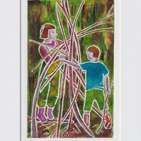 Den building - original hand painted monoprint 001