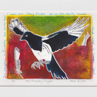 the Picardy Magpie - original hand painted monoprint 004