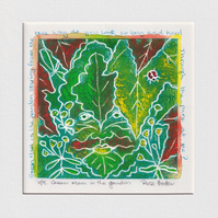 Green Man in the garden- original hand painted lino print 001