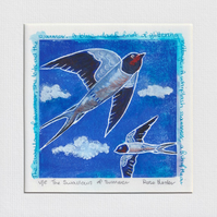 The swallows of summer -original hand painted lino print 002