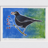 autumn feast - blackbird, original hand painted lino print 008