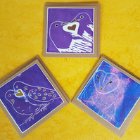 Pack of 3 Hand Made Greetings Cards - heart and  bird themed on recycled card