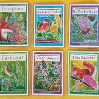 Pack of 5 Flora and Fauna Greetings Cards - nature themed on recycled card