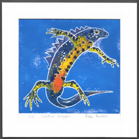 Crested Dragon - newt, hand painted original Lino print 006