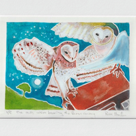 the owls - original hand painted lino print  - poem 'Fern Hill' 013